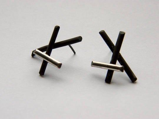 Xx. handmade sterling silver post earrings, oxidized black