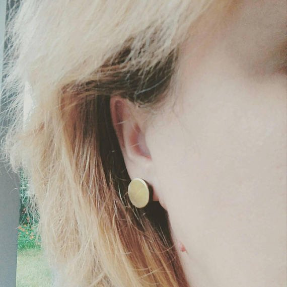 Circle. handmade studs, oxidized copper earrings with brass disc