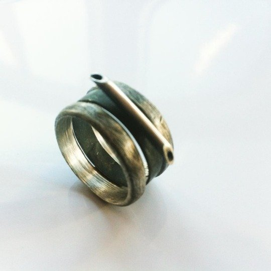 Pair. simple, multi ring, handcrafted silver ring, oxidized black.