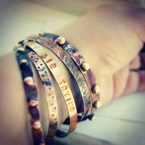 Earth. set of 5 bangles, handmade textured copper bracelets