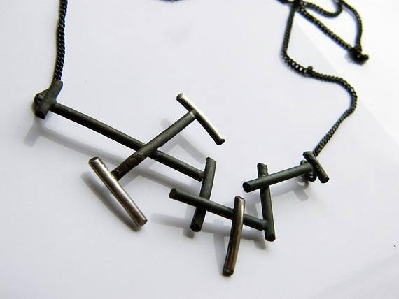 Twigs. handmade sterling silver dainty necklace, oxidized black
