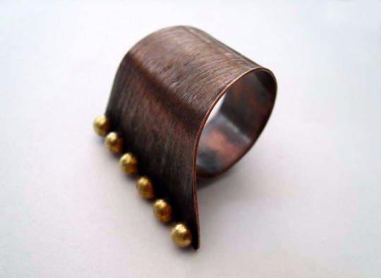 Asymmetrical. copper adjustable ring, handmade metal ring