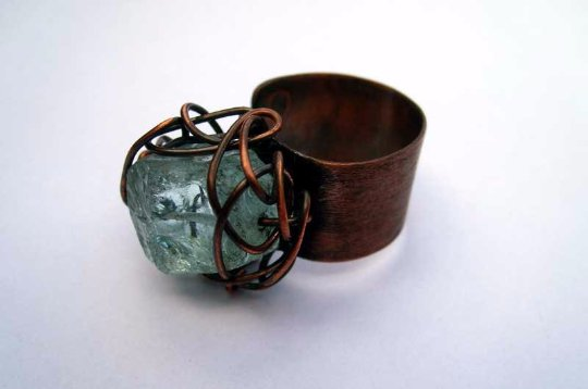 Green. copper adjustable ring with natural raw stone