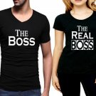 the boss and Real boss  2 pieces couple  tshirt for  men and women