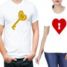 key and locked heart 2 pieces couple  tshirt for  men and women