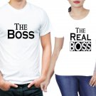 the boss and Real boss  2 pieces couple White tshirt for  men and women