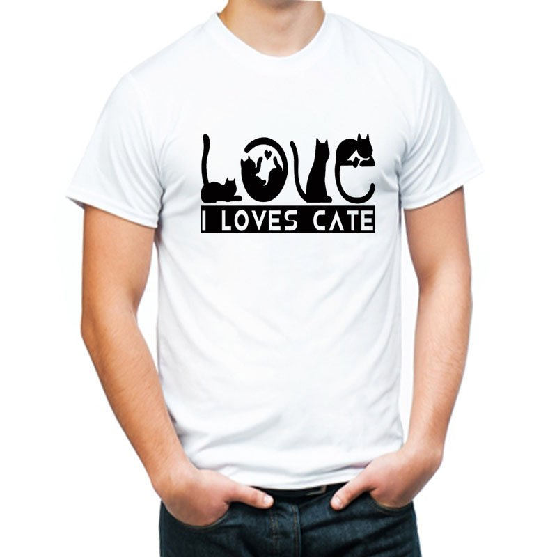 Cat Lover high quality  white tshirt  for men