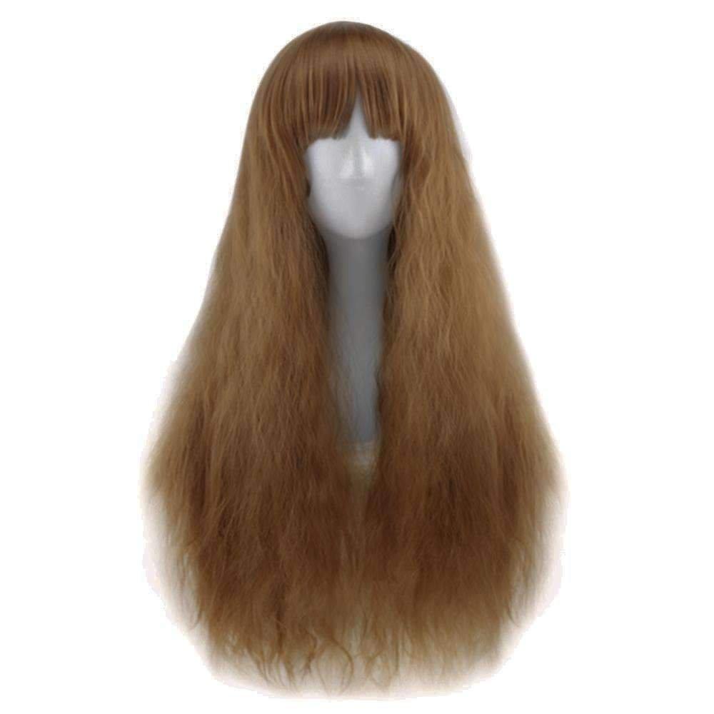 Full Bangs Long Heat Resistant Natural Half Curly Hair Wig