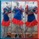 Latino latin salsa competition dress medium blue and colorful (LA12410)