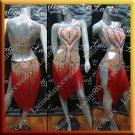 Latino latin salsa competition dress tan and red (LA3630)