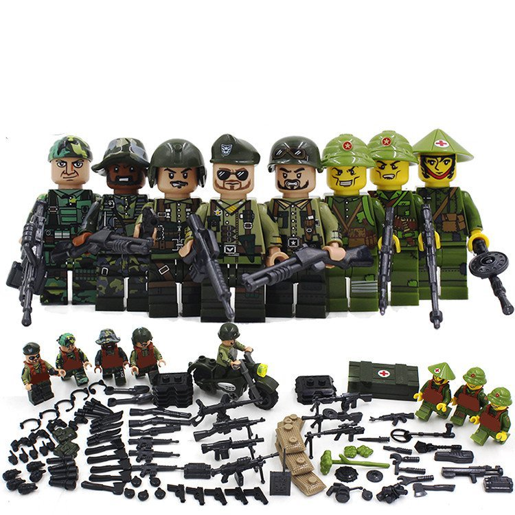 8pcs Vietnam War World War Ww2 Army Lego Minifigure