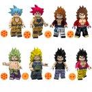 8pcs Vegeta Bardock Broly Gogeta Lego Toys Dragon Ball Anime Theme Minifigure Block Toy