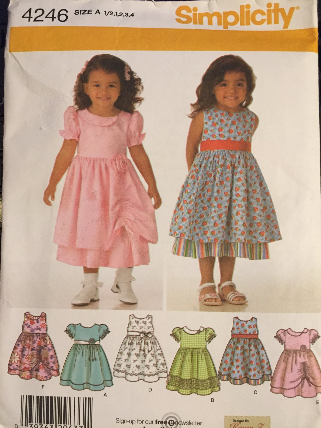 Simplicity 4246 Toddler's Dress with Skirt Sewing Pattern, Trim Variations Sizes 1/2, 1, 2, 3, 4