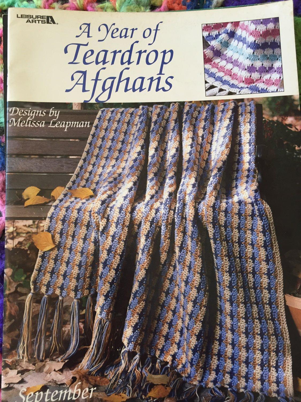 A Year of Teardrop Afghans Leisure Arts 3008 Twelve Designs Melissa Leapman