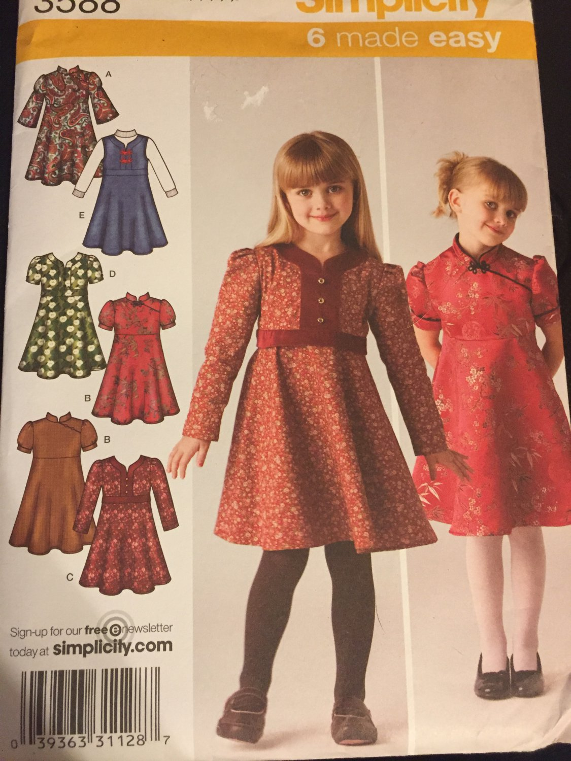 Simplicity Sewing Pattern 3588 Child's Dress or Jumper with Bodice Variations