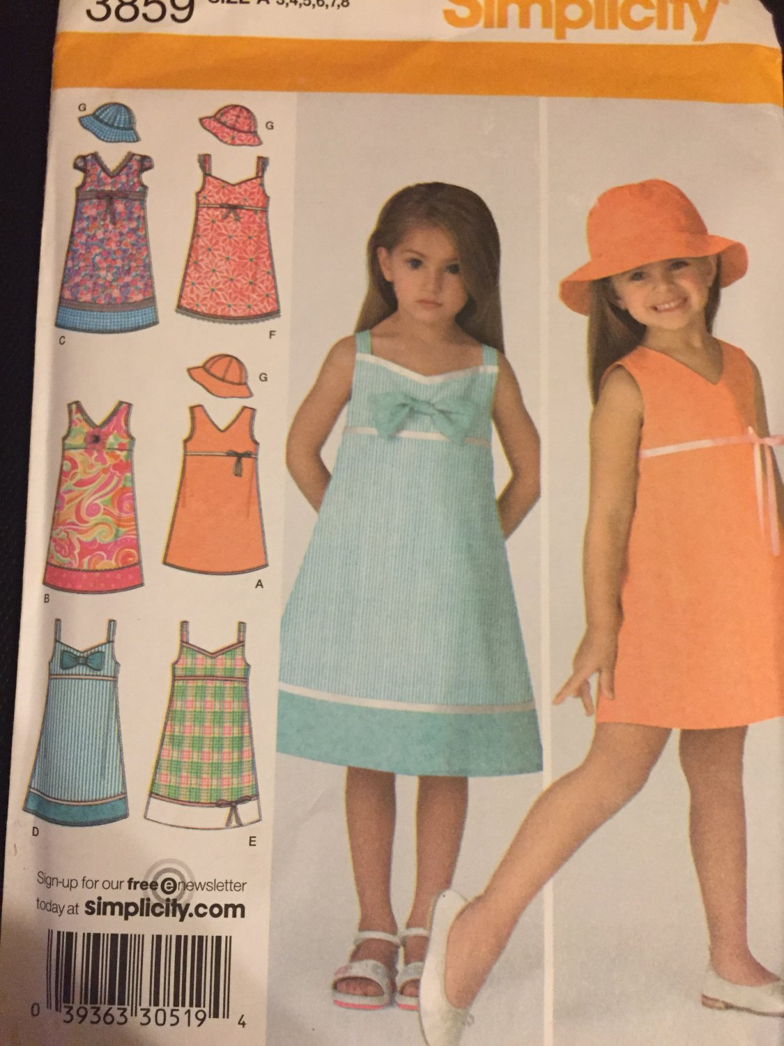 Simplicity Sewing Pattern 3859 Child's Dress in Two Lengthsand Hat in 3 Sizes Sizes 3 to 8 Uncut