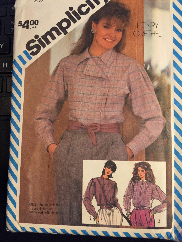 Henry Grethel Designer Loose-Fitting Shirt 1980s Simplicity Pattern 6066 Size 8