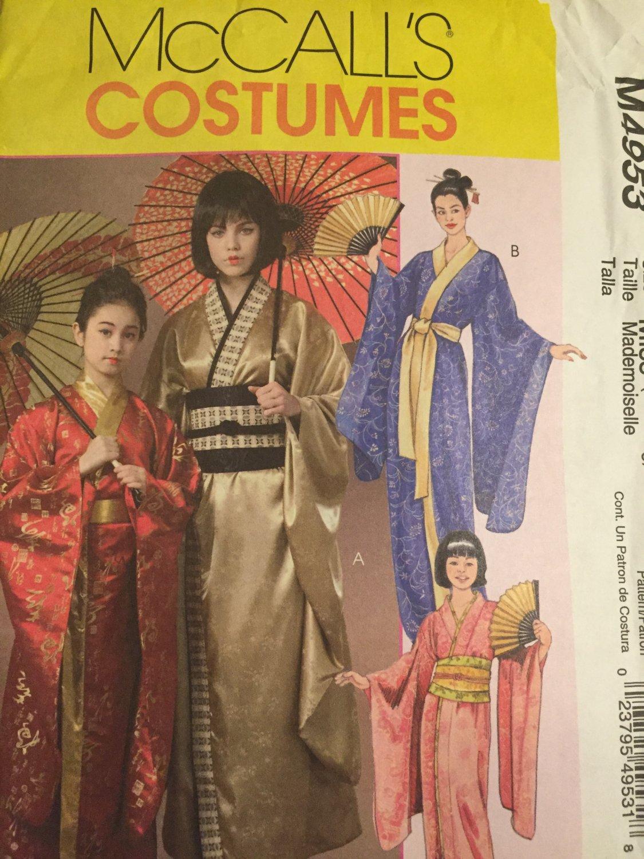 McCall's M4953 4953 Oriental Kimono Robes Geisha Costume Sewing Pattern 4953 UNCUT Size XSm - Lg