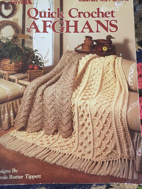 Quick  Crochet Afghans, 3 Designs by Carol Rutter Tippett, Leisure Arts #431