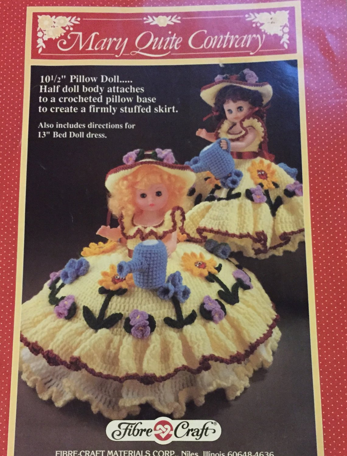 Mary Quite Contrary Pillow Doll or Bed Doll Crochet Pattern Fibre Craft FCM165