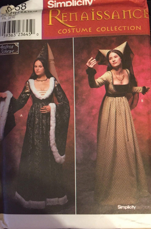 Misses Sewing Pattern Simplicity 9058 Renaissance Dress Medieval Costume Size 6 8 10 12