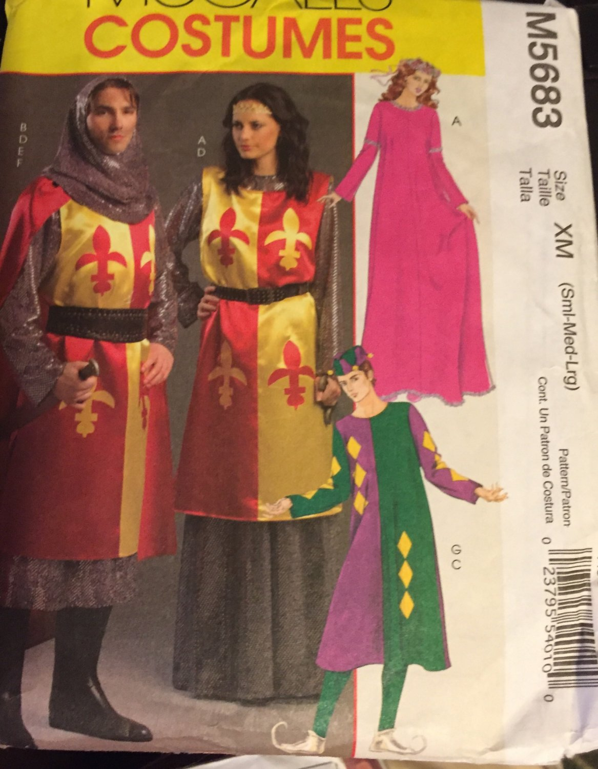 McCalls 5683 Costume Pattern Adult Renaissance or Medieval Dress in Variations  Size XM sml Med Lg