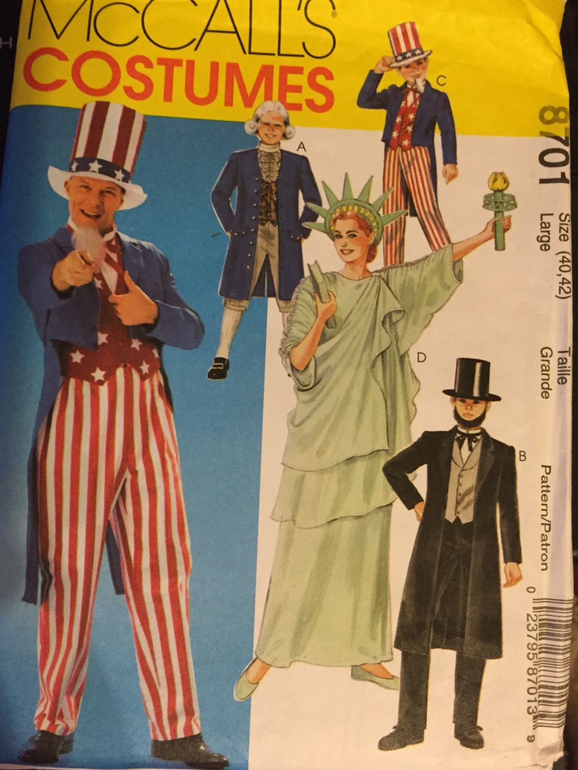 McCalls 8701 Patriotic Costumes pattern Statue of Liberty Abe Lincoln Uncle Sam Size Large (40, 42)