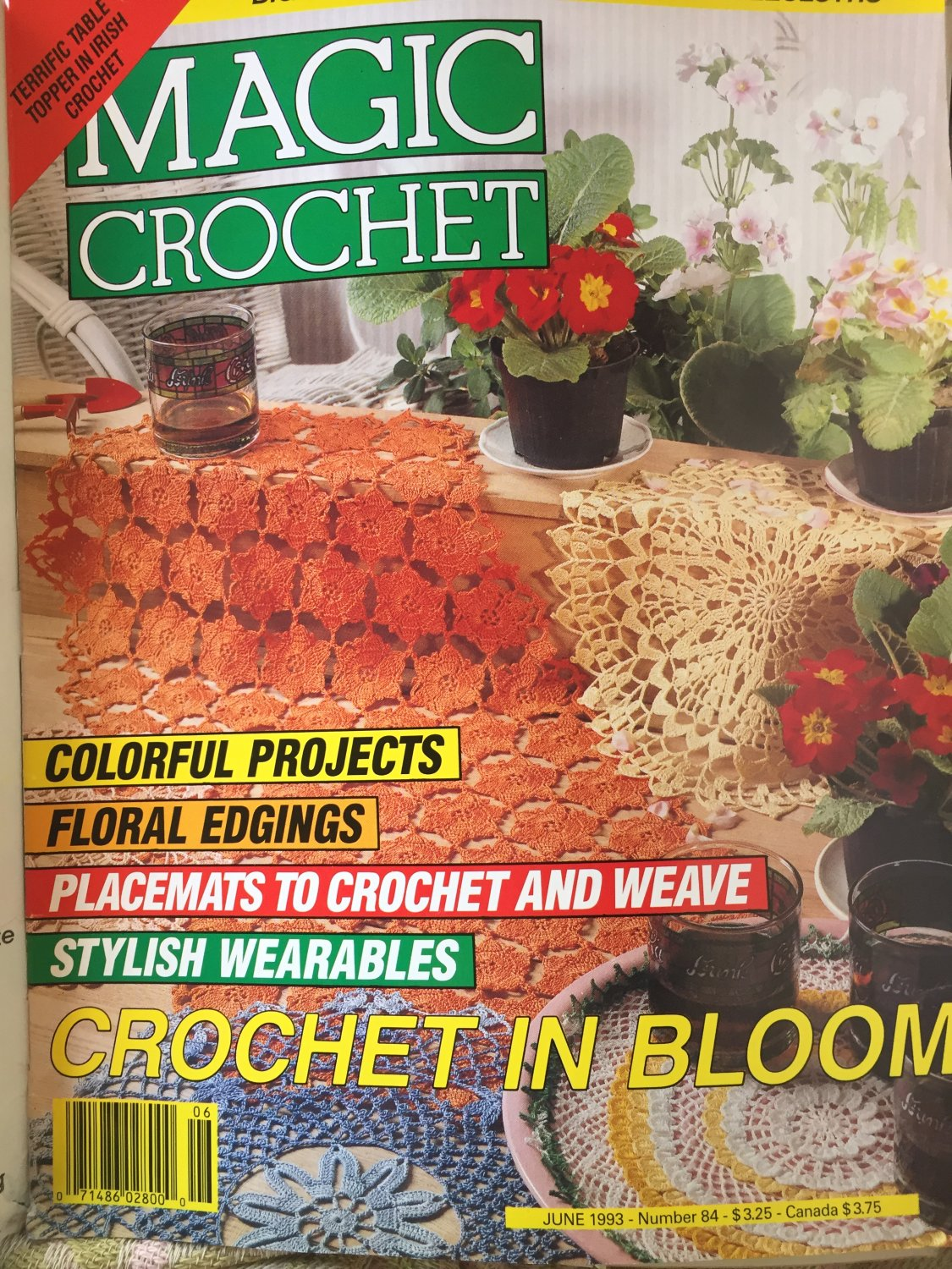 Magic Crochet 84 June 1993 Crochet Patterns Bedspreads Tablecloths Place mats Fashion