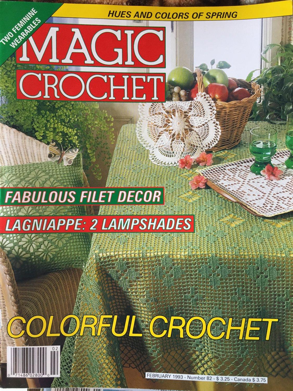 Magic Crochet 82 February 1993 Crochet Patterns Lampshades Doilies Fashion Colorful Crochet