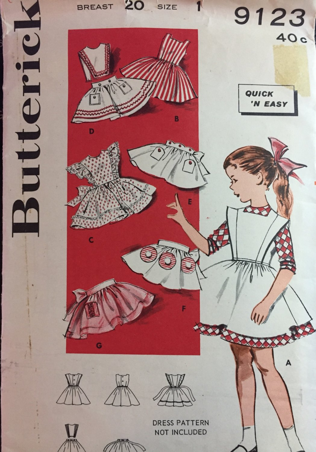 Butterick 9123; Girls' Quick 'N Easy Pinafore Package Cut & Complete