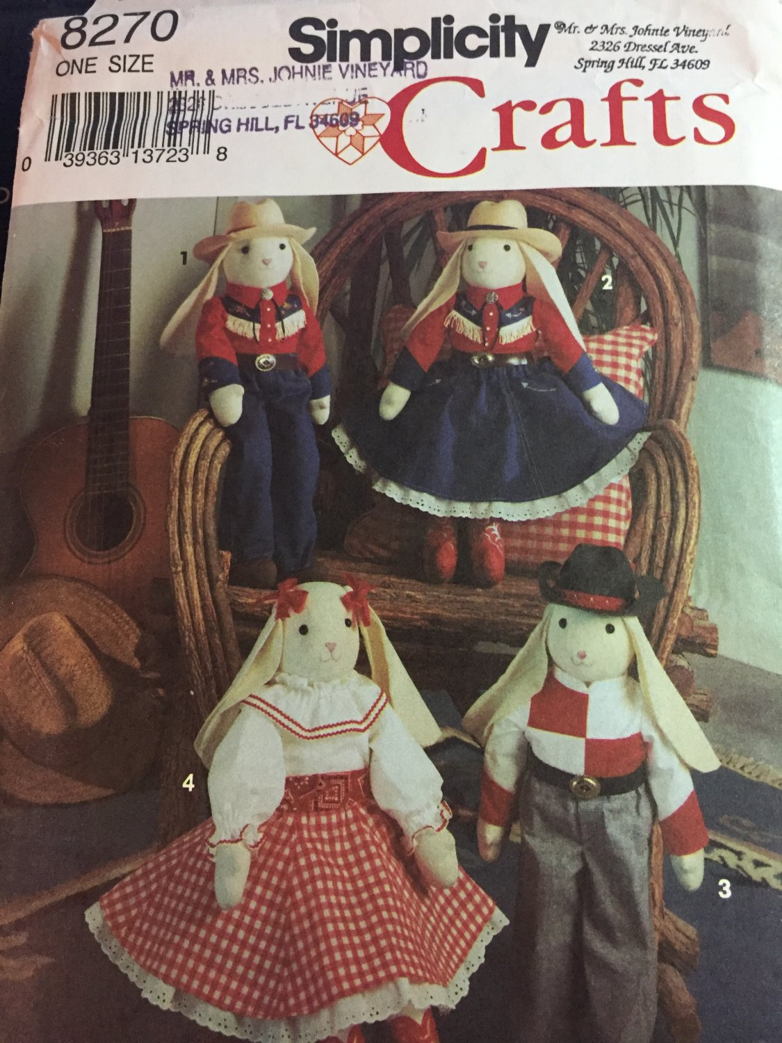 "SIMPLICITY CRAFT PATTERN 8270 23"" BUNNY & WESTERN OUTFITS UNCUT"