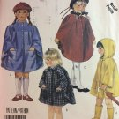Easy McCall's Pattern 3452 Children's Unlined Capes Raincoat Smock uncut sewing pattern size 5 6