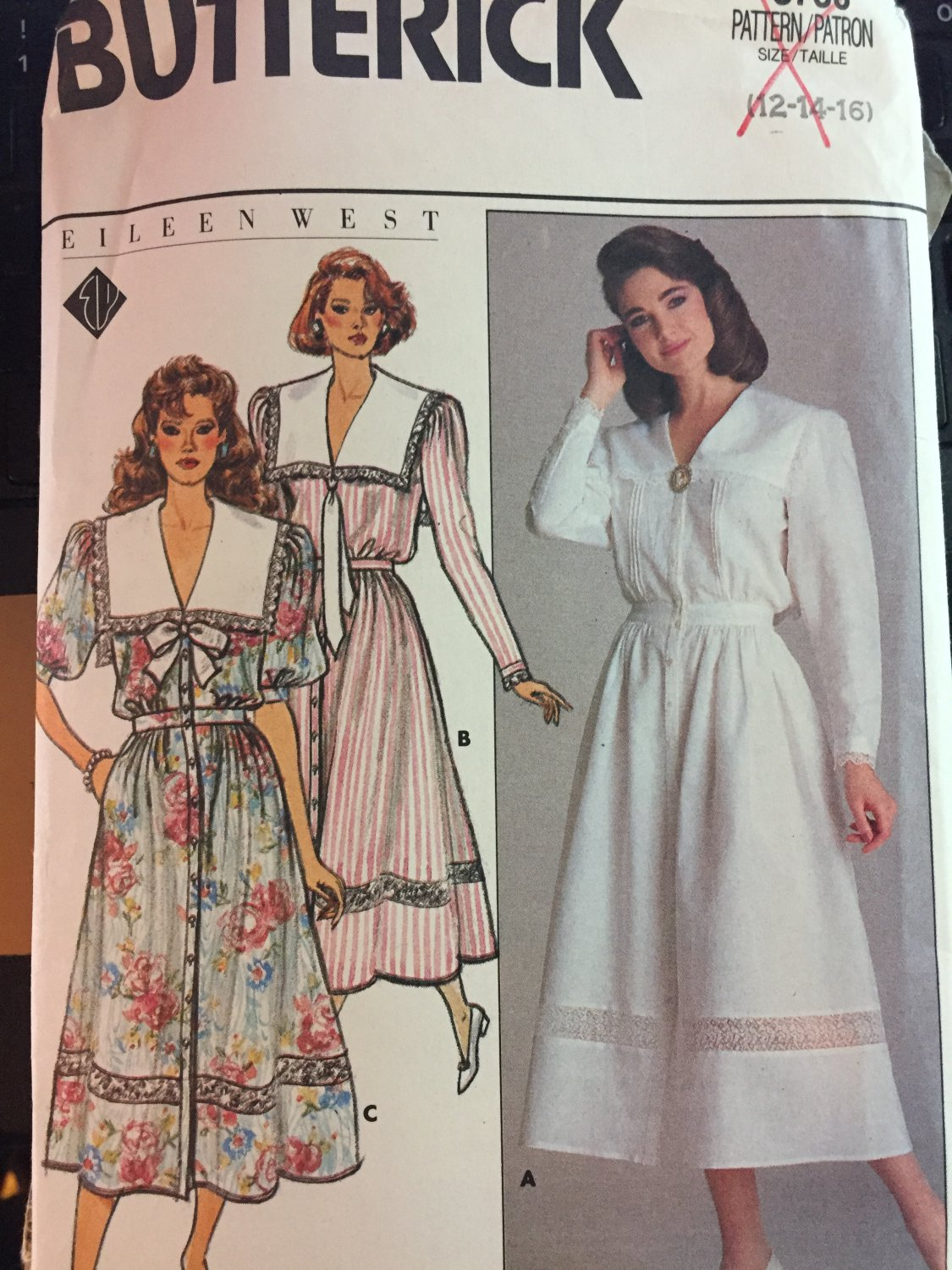 Butterick 3736 1980's Eileen West Blouson Dress Sewing Pattern Size 12-14-16