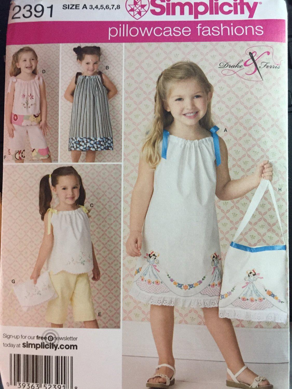 Little Girls Pillowcase Dress Top Capri Shorts Sundress Simplicity 2391 Sewing Pattern  Size 3-8