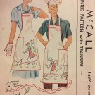 McCall's 1597 Vintage His and Hers Apron, Oven Mitt and Chef Hat