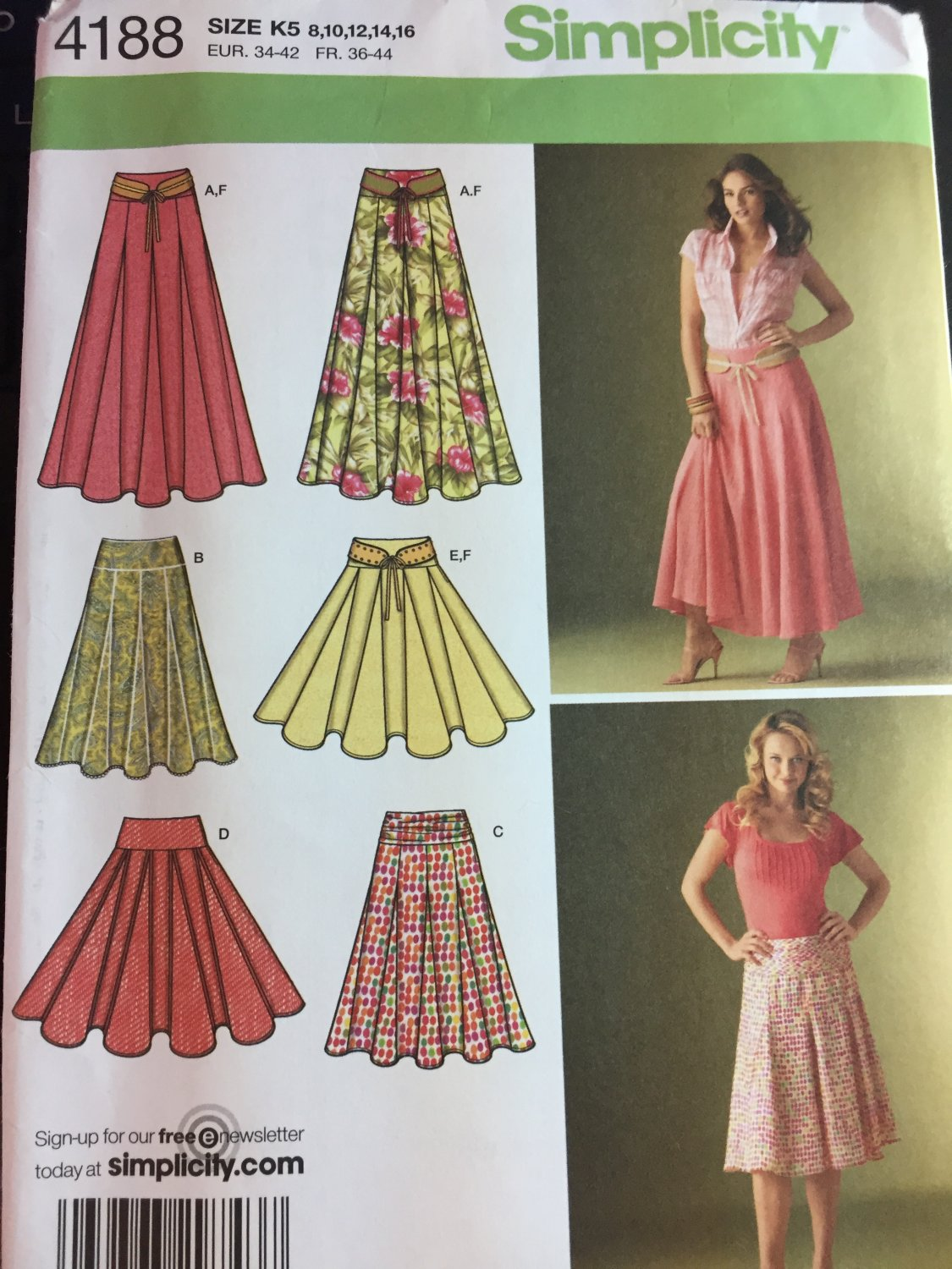 Simplicity 4188  Misses' Skirts Sewing Pattern Skirts w/ Length Variations Belt  Size 8 to 16,