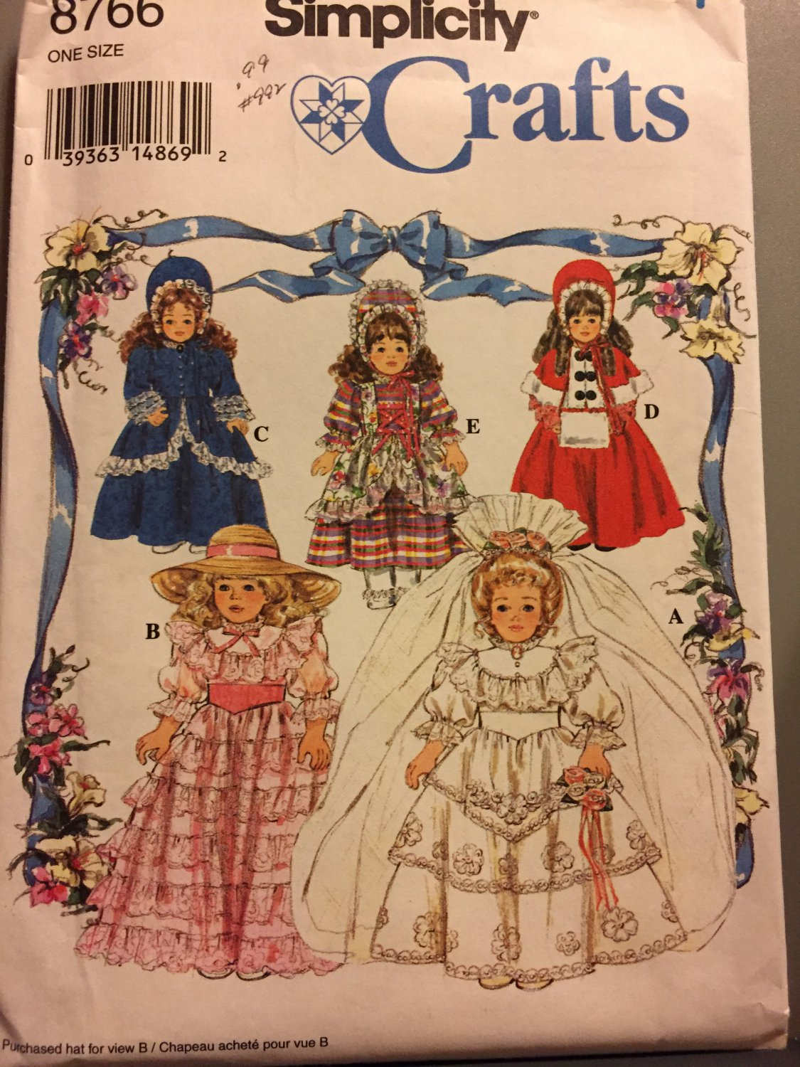 "Simplicity 8766 Collector Doll Victorian Wedding Gown Cape & Hat 16"", 18"" Clothes Sewing Pattern"