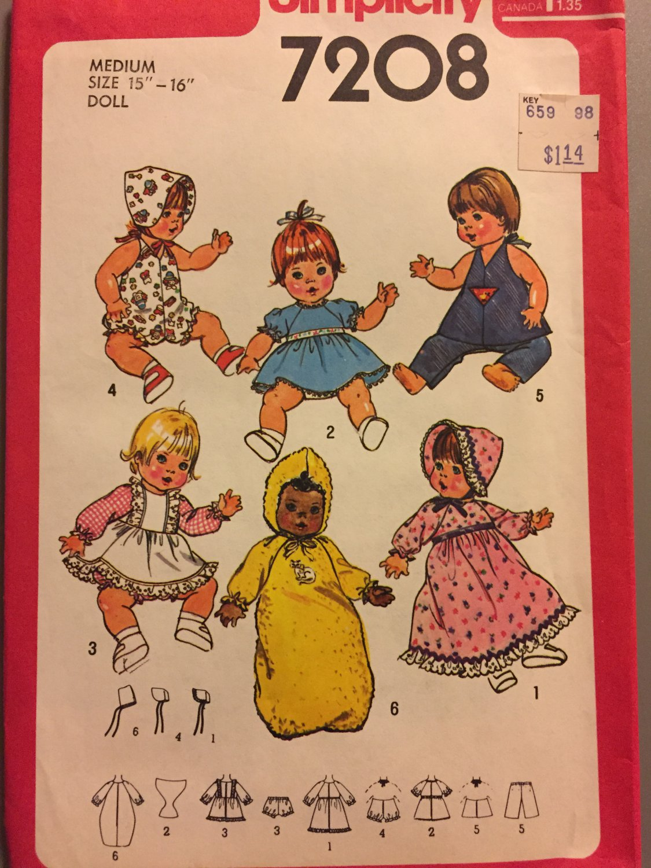 "Simplicity 7208 baby doll clothes wardrobe for Medium 15""-16"" doll"