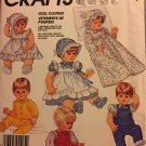 McCall's Crafts 2862 Doll Clothes, Dress, Pinafore, Bonnet for Small, Medium and large dolls.
