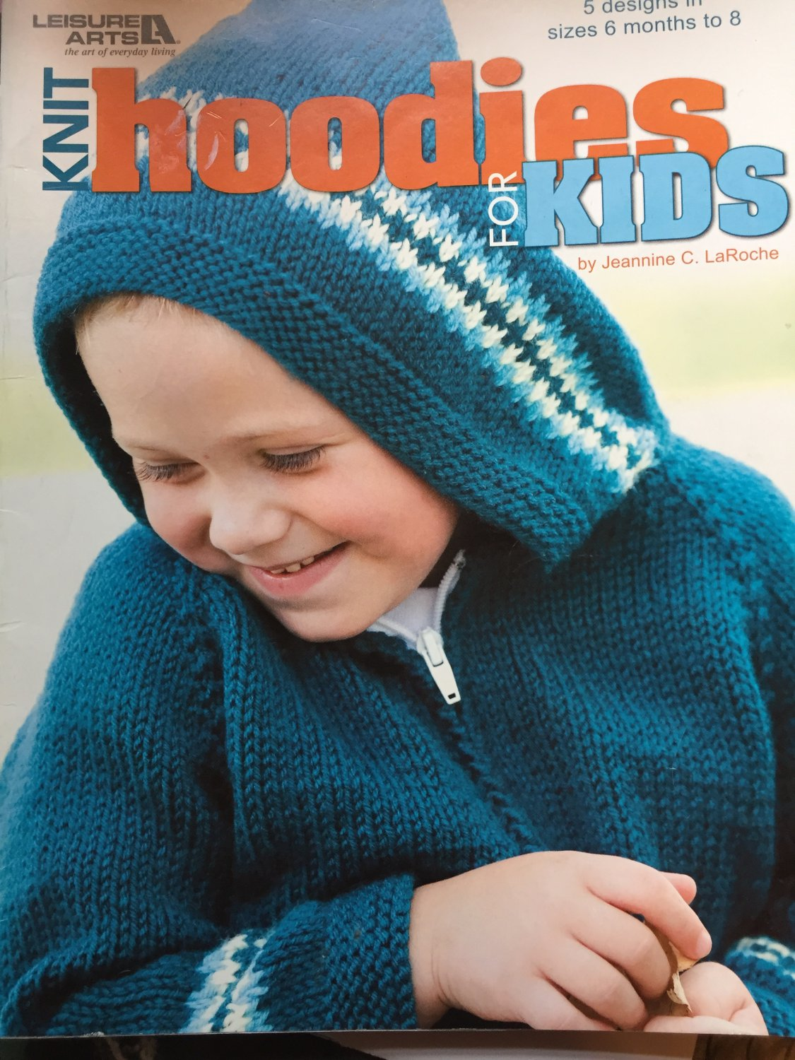 Knit Hoodies For Kids 5 designs Kntting Book Leisure Arts 4453 6 mo. to 8 years