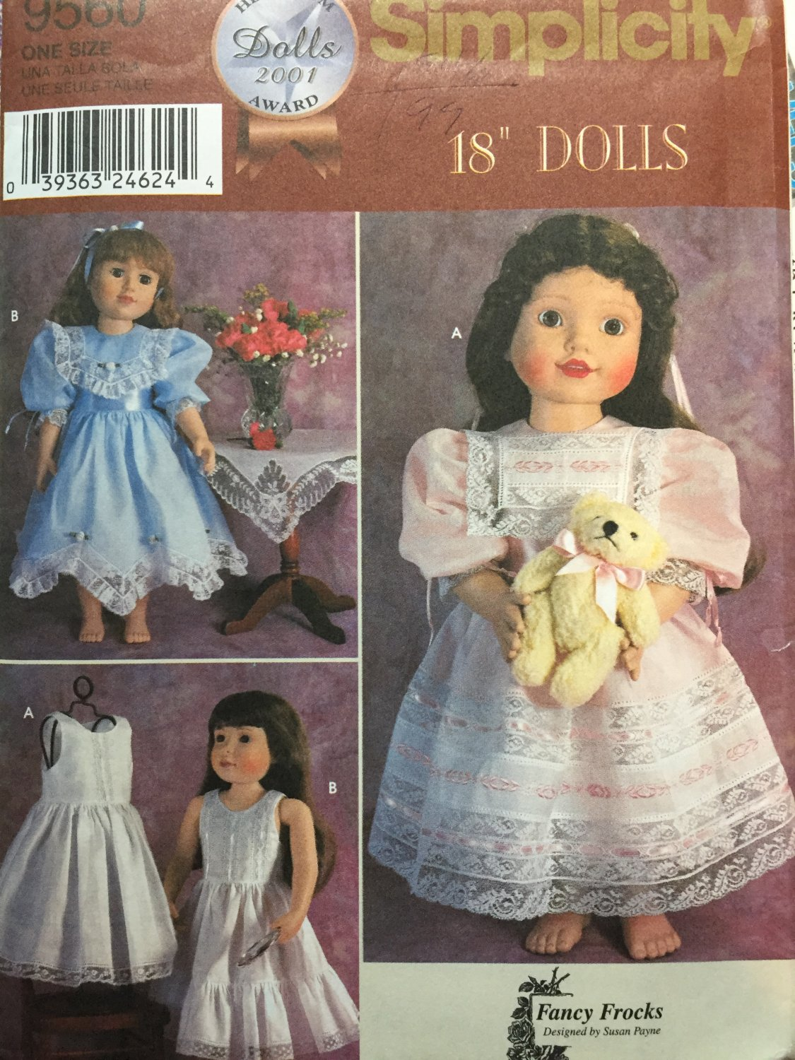 """Simplicity Pattern 9560 Vintage Clothes 18"""" Dolls 2 Dress and Petticoat Patterns"""