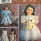"Simplicity Pattern 9560 Vintage Clothes 18"" Dolls 2 Dress and Petticoat Patterns"