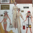 "Simplicity 9913 Doll Collectors Club Swinging 60's Coat Dress Bikini Hat Bag Sewing Pattern 11 1/2"""