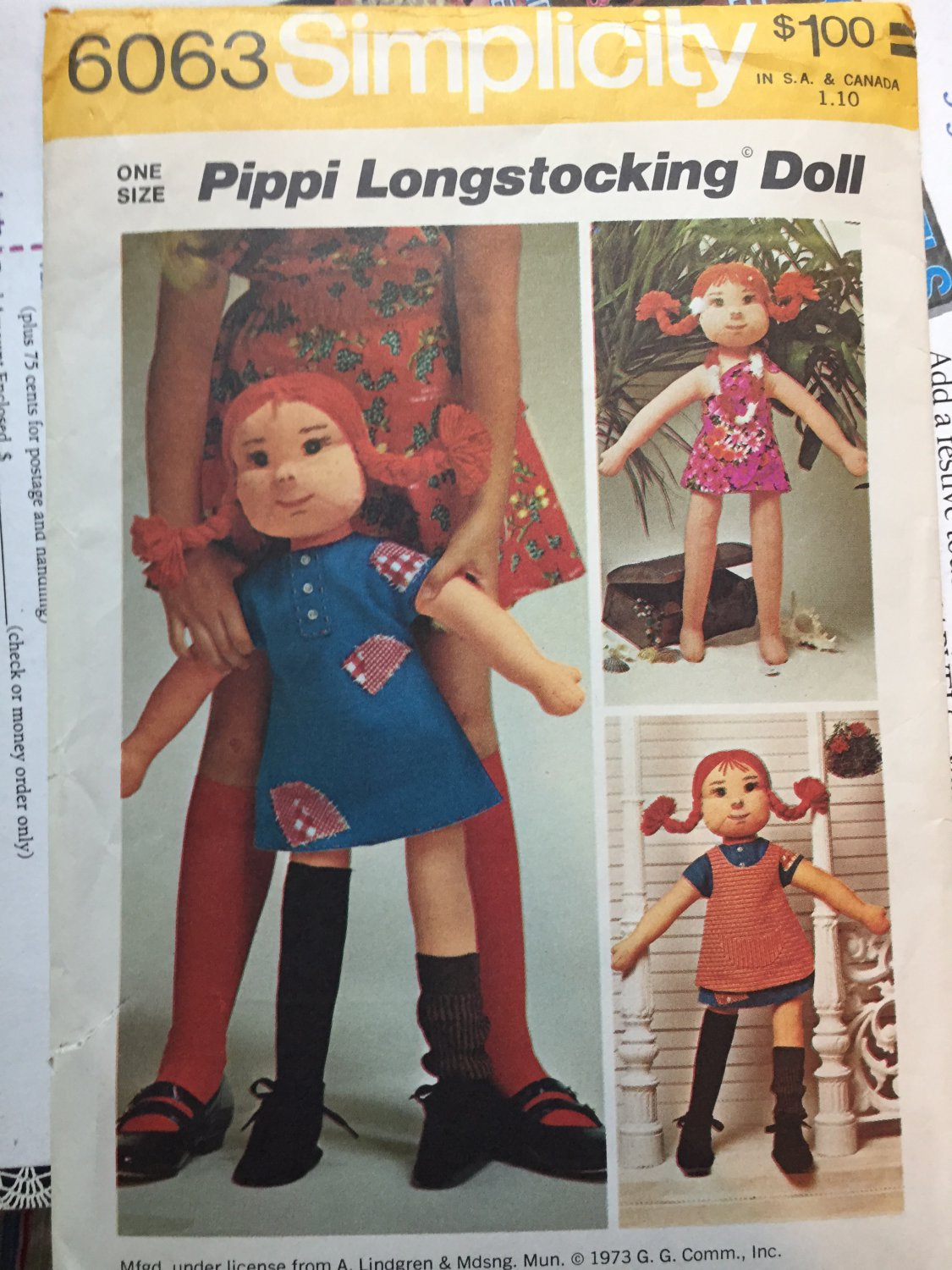 Pippi Longstocking, Rag Doll and Wardrobe of Clothes Sewing Pattern Vintage 1970's Simplicity 6063