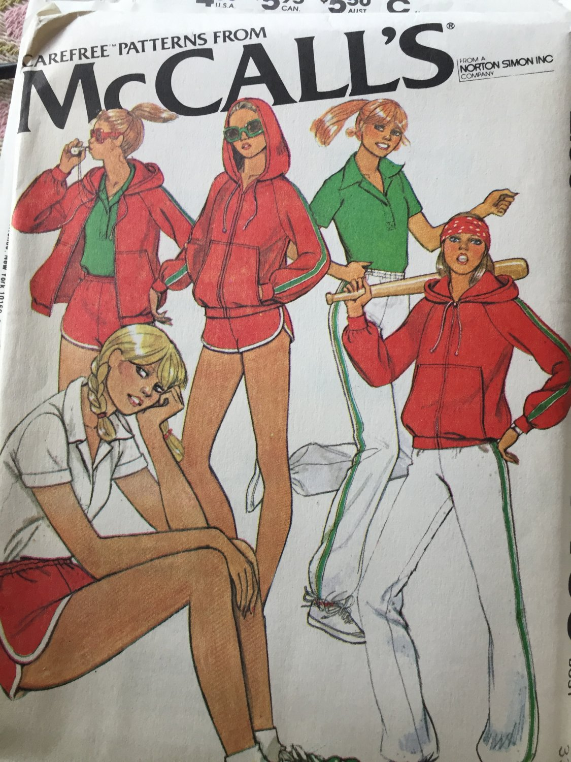 """McCalls 6469 Misses Sporty Hoodie Zip Jacket Top Pants Shorts Pattern for Knits Size 9 Bust 33"""""""