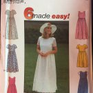 Simplicity 8071 Sewing Pattern Six Made Easy Dress Full Skirt Gathered to Raised Waist  SZ 18-22