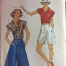 Butterick sewing pattern 5373 misses shirt culotte and Bermuda shorts size 12