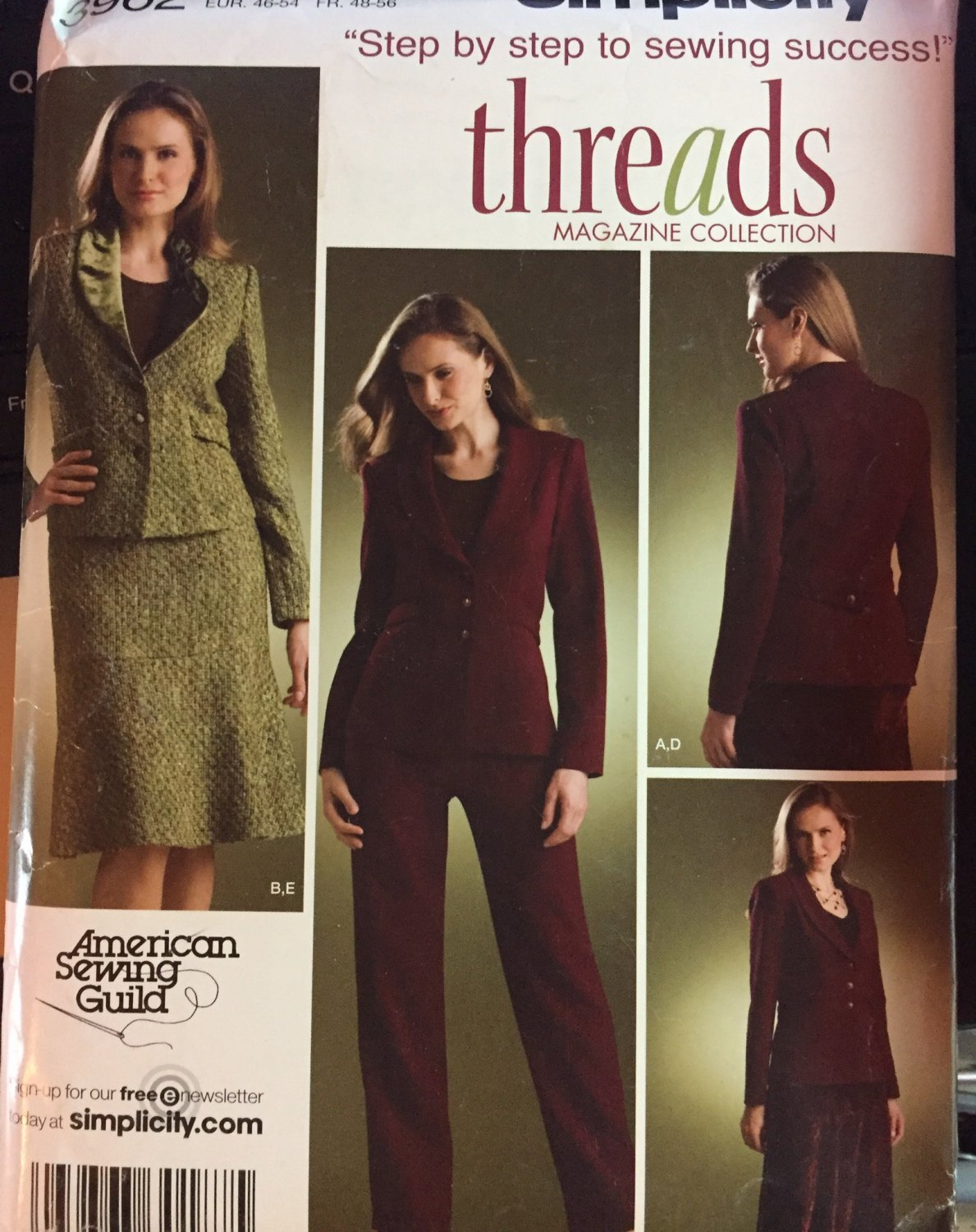 Simplicity 3962 Womens Suit Size 20 to 28 Sewing Pattern Threads Collection
