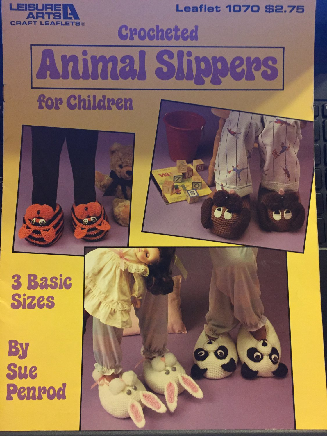 Crocheted Animal Slippers For Children Leisure Arts 1070 Pattern In