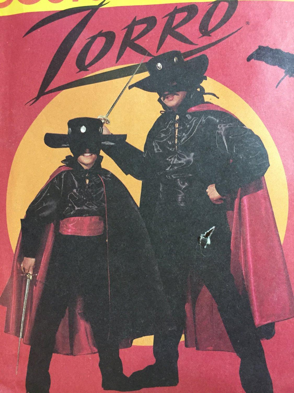 Zorro Super Hero Halloween Costume, Sewing Pattern McCalls 6689 Cape, Shirt, Mask, Gauntlets